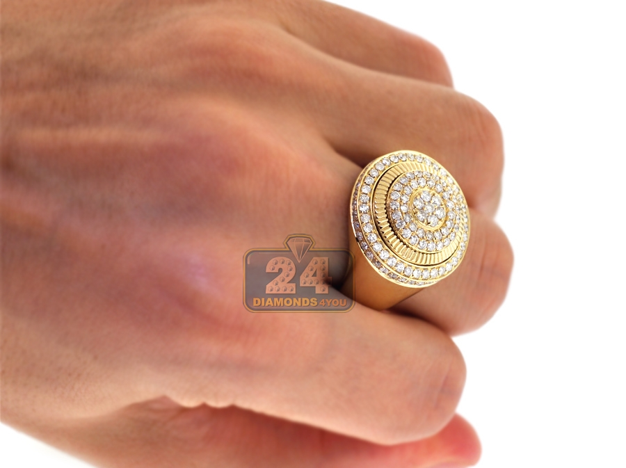 Mens Diamond Round Signet Pinky Ring 14k Yellow Gold 2 02