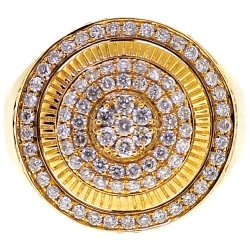 Mens Diamond Round Signet Pinky Ring 14K Yellow Gold 2.02 Carat