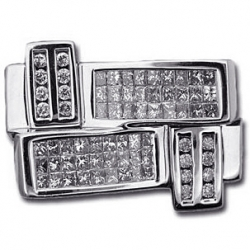 14K White Gold 1.50 ct Mixed Diamond Mens Signet Ring