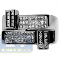 Black PVD 14K Gold 1.21 ct Princess Cut Diamond Mens Ring