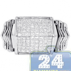14K White Gold 1.49 ct Princess Diamond Mens Step Ring