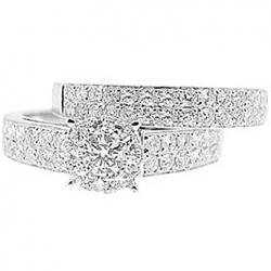14K White Gold 1.37 ct Diamond Engagement Wedding Rings Set