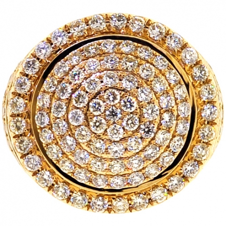 Mens Diamond Round Pinky Ring 14K Yellow Gold 3.80 Carat