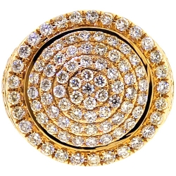14K Yellow Gold 3.80 ct Diamond Mens Round Ring