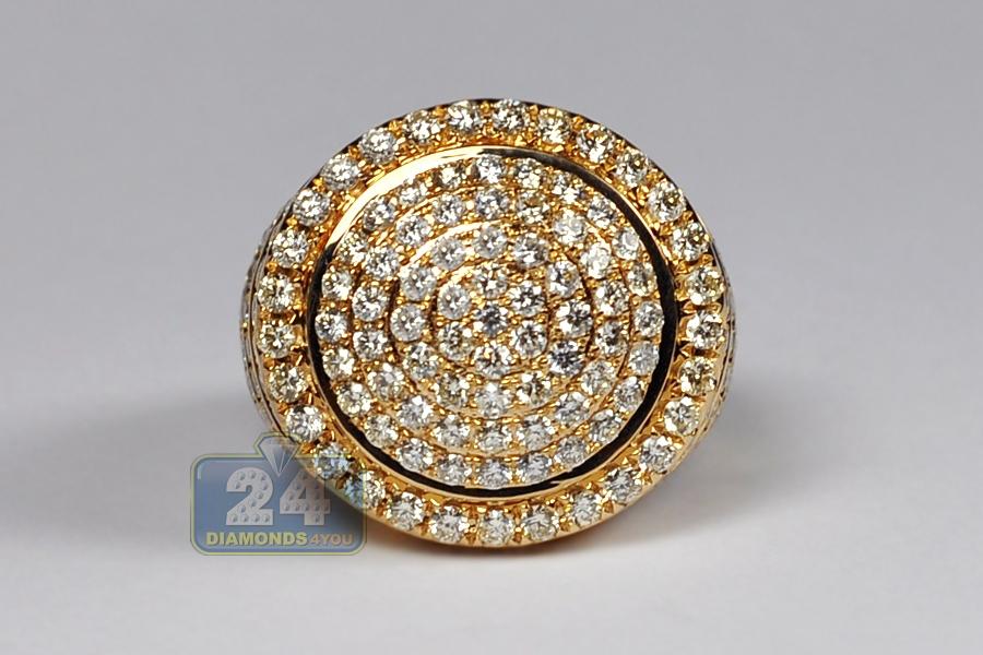 mens diamond round pinky ring 14k yellow gold 380 carat