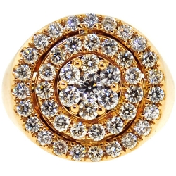 14K Yellow Gold 2.81 ct Diamond Cluster Pinky Ring