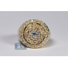 Mens Diamond Cluster Round Pinky Ring 14K Yellow Gold 2.81 ct