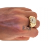 Mens Diamond Fluted Bezel Step Ring 14K Yellow Gold 1.00 ct