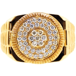 14K Yellow Gold 1.00 ct Diamond Fluted Bezel Mens Ring