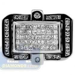 Black PVD 14K Gold 1.12 ct Princess Diamond Mens Ring