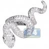 Womens Diamond Long Snake Ring 14K White Gold 3.68 ct