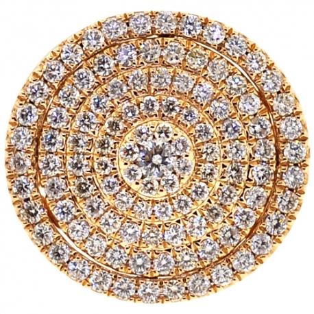 Mens Diamond Round Signet Large Ring 14K Yellow Gold 2.56 ct