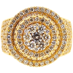 Mens Diamond Cluster Round Pinky Ring 14K Yellow Gold 4.30 ct