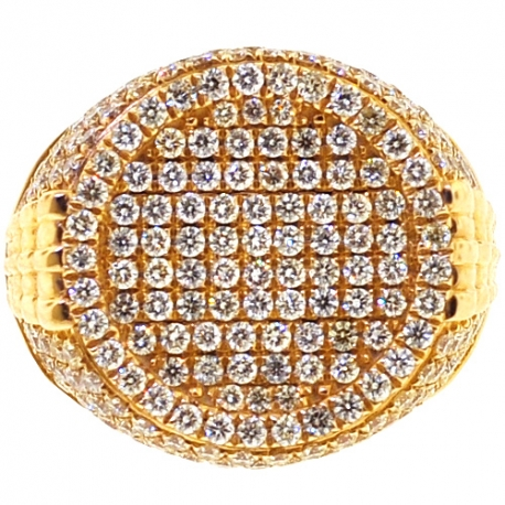 Mens Diamond Round Pinky Ring 14K Yellow Gold 3.55 Carats