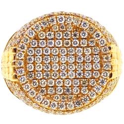 14K Yellow Gold 3.55 ct Diamond Mens Pinky Ring