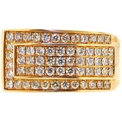 14K Yellow Gold 1.55 ct Diamond Slanted Band Ring 12 mm
