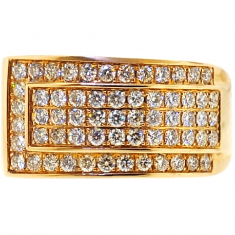 Mens Diamond Slanted Band Ring 14K Yellow Gold 1.55 ct 12 mm