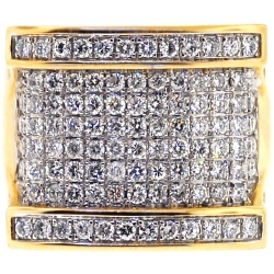 14K Yellow Gold 3.80 ct Diamond Mens Large Ring