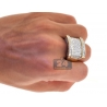 Mens Round Diamond Large Signet Ring 14K Yellow Gold 3.80 ct