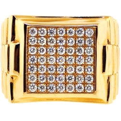 14K Yellow Gold 1.30 ct Diamond Mens Square Ring