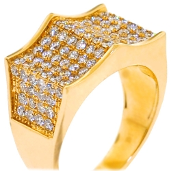 14K Yellow Gold 2.45 ct Diamond Mens Spike Ring