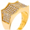 Mens Diamond Spike Pinky Ring 14K Yellow Gold 2.45 Carat