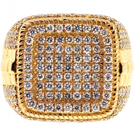 Mens Diamond Square Shape Pinky Ring 14K Yellow Gold 3.05 ct