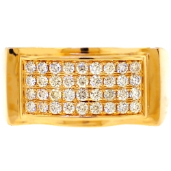 14K Yellow Gold 0.95 ct Diamond Mens Rectangle Band Ring