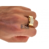 Mens Diamond Rectangle Pinky Band Ring 14K Yellow Gold 0.95 ct