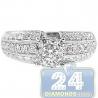 18K White Gold 0.98 ct Diamond Cluster Vintage Engagement Ring