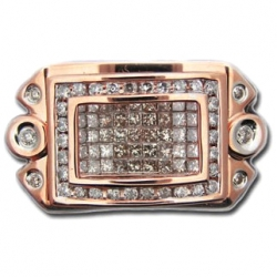 14K Rose Gold 1.50 ct Princess Round Cut Diamond Mens Ring