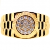 14K Yellow Gold 0.60 ct Diamond Fluted Bezel Mens Pinky Band Ring