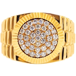 14K Yellow Gold 1.02 ct Diamond Mens Fluted Pinky Ring