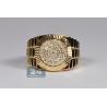 Mens Diamond Fluted Bezel Pinky Ring 14K Yellow Gold 1.02 ct