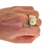 Mens Diamond Fluted Bezel Pinky Ring 14K Yellow Gold 1.02 ct
