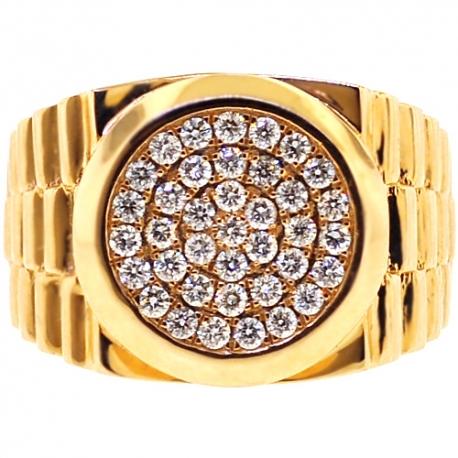 Mens Diamond Stepped Shank Pinky Ring 14K Yellow Gold 1.10 ct