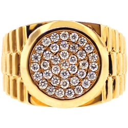 14K Yellow Gold 1.10 ct Diamond Mens Step Pinky Ring