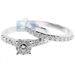 14K White Gold 1.13 ct Diamond Engagement Wedding Rings Set