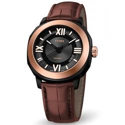 F820211011 Fendi Selleria Automatic Pink Gold Bezel Mens Watch