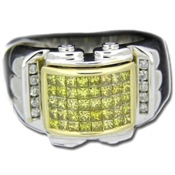 14K White Gold 1.50 ct Yellow Princess Cut Diamond Mens Ring