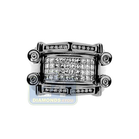 Black PVD 14K Gold 0.97 ct Princess Cut Invisible Set Diamond Mens Ring