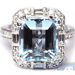 18K White Gold 7.66 ct Blue Topaz Diamond Womens Vintage Cocktail Ring