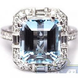18K White Gold 7.66 ct Blue Topaz Diamond Vintage Cocktail Ring