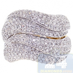14K Yellow Gold 3.28 ct Diamond Wave Womens Large Ring
