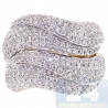 14K Yellow Gold 3.28 ct Diamond Womens Wave Shaped Large Ring