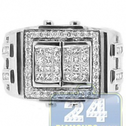 14K White Gold 1.33 ct Princess Round Cut Diamond Mens Ring