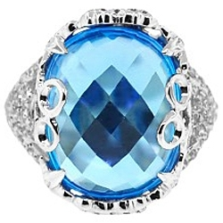 14K White Gold 17.20 ct Blue Topaz Diamond Vintage Cocktail Ring