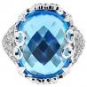 14K White Gold 17.20 ct Blue Topaz Diamond Vintage Cocktail Ring