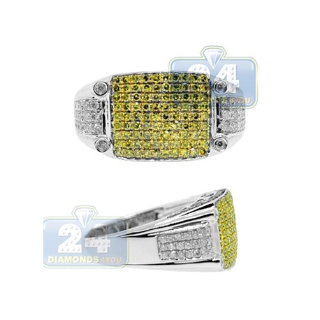 14K Gold 1.55 ct Yellow White Diamond Mens Rectangle Ring