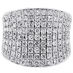 14K White Gold 4.25 ct Diamond Wave Shaped Mens Ring